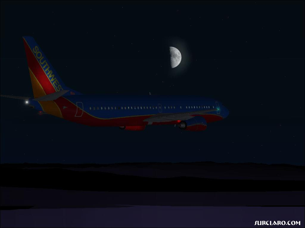 (FS2004) Southwest 737 flying at night. It's the first time I saw the moon on FS2004.  - Photo 3517