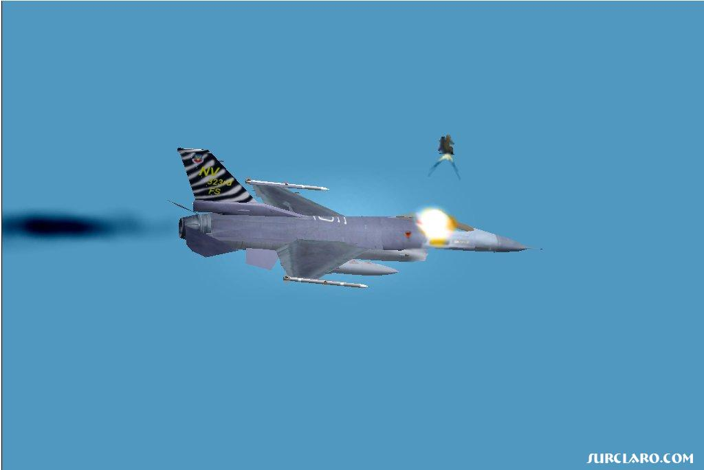 This is a new effect I am working on for FS, it is a eject sequence. Firstly it is added on like a smoke effect, by changing aircraft.cfg... then when flying you press 'I' key and black smoke starts flying out the engine, then a small fire starts, and finally the pilot Ejects, when you eject a explosion happens in the cockpit and the pilot flys out, after about 3 seconds a parachute opens, then you just float to the ground... although you can stop this sequence at any time by pressing the smoke key again. and start the whole sequence again.... good eh? I will upload smoke files on surclaro, when they are tweaked to perfection! - Photo 3454