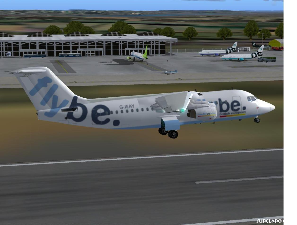 flybe bae146 taking off from bristol airport using Fs2004 and uk2000 scenery addon - Photo 3308