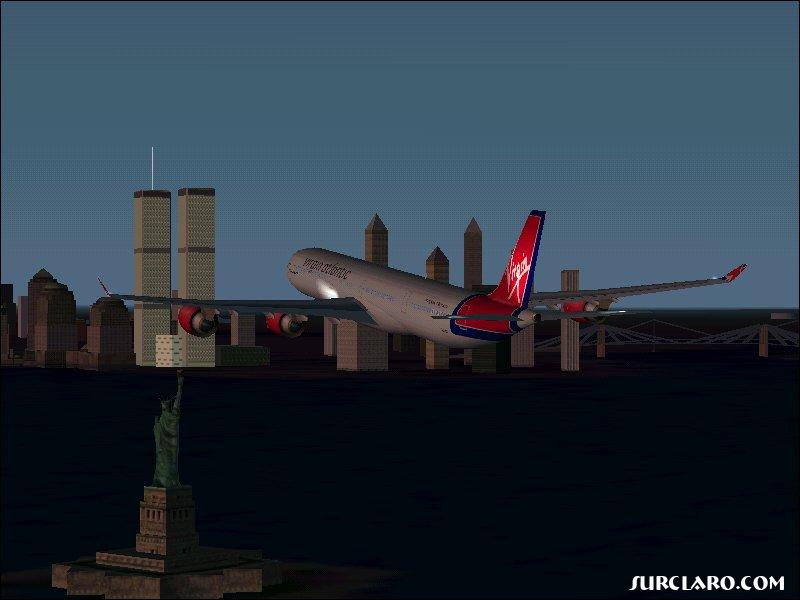 A Virgin Atlantic Airbus finally reaches NYC after a long flight from the UK (FS2002) - Photo 3507