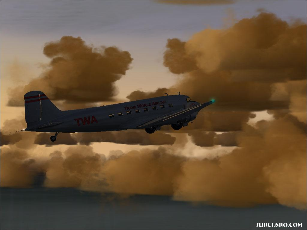 (FS2004) DC-3 in TWA colors. Flying over San Diego. Great Weather! - Photo 3521