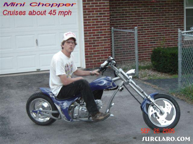 This Custom Mini-Chopper will cruise about 45 mph,, has a Honda 110cc motor, runs on regular gas,, has working speedo, horn, Electric and foot start, working headlight, Real Aluminum Wheels, Rubber Tires, and holds about 3.2 Gallons of Petro !! Great little toy !!! - Photo 10906