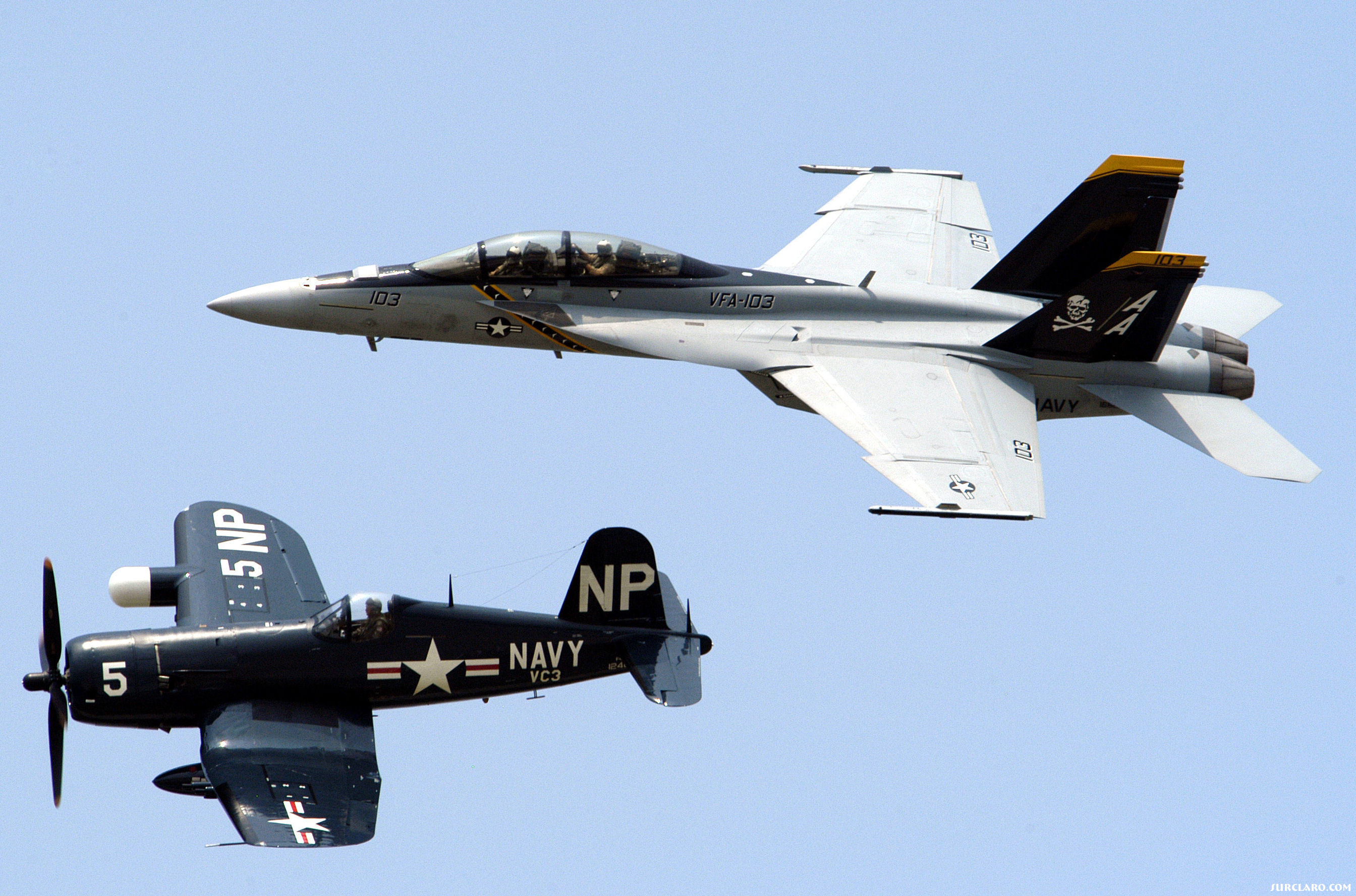 NAS Oceana airshow.  F4U Corsair/F/A-18 Superhornet of VFA-103 Jolly Rogers in formation. - Photo 18004